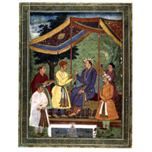 Emperor Jehangir receiving his sons Pervez and Khusrau circa 1605-06