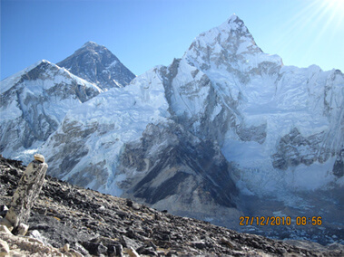 Everest from Kala Pattar. Everest is the darker peak at the rear, Nuptse to the right (photo: Aroon Raman)