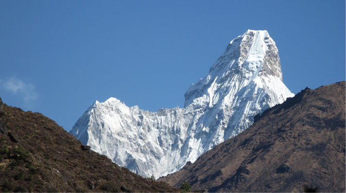 The great peak of Ama Dablam dominates en route to Everest