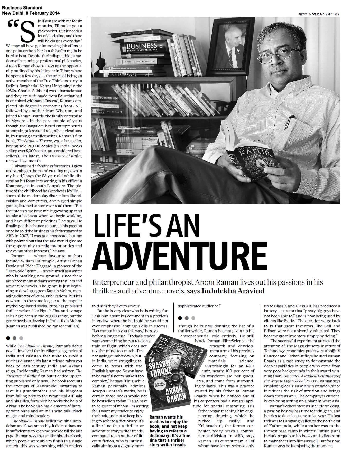 Aroon Raman: Life's an adventure